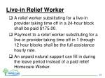 live in relief worker