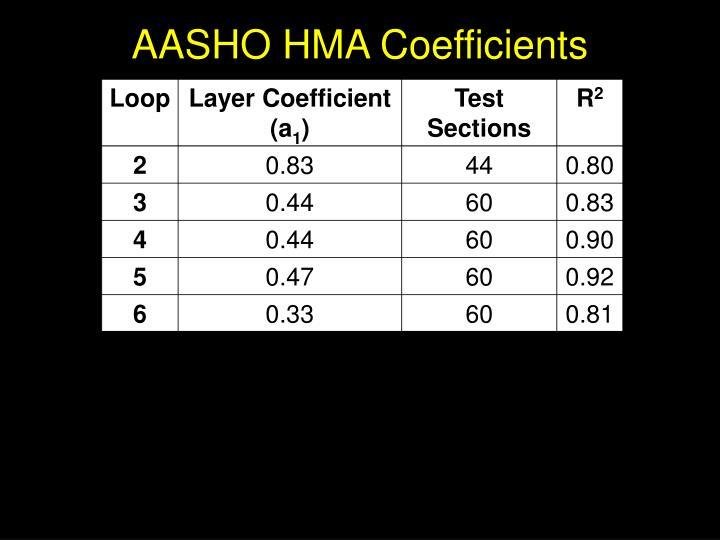 AASHO HMA Coefficients