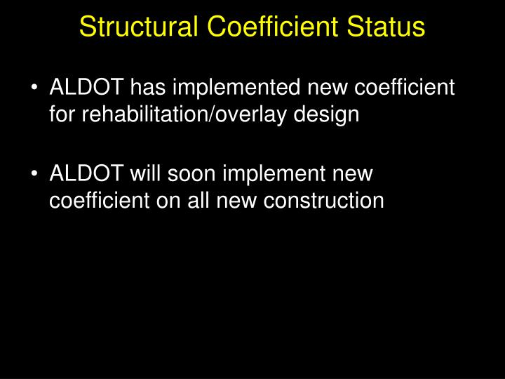 Structural Coefficient Status