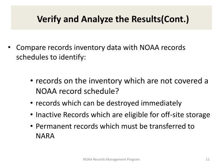 Verify and Analyze the Results(Cont.)