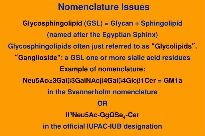 Nomenclature Issues