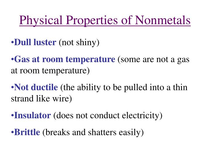 Physical Properties of Nonmetals