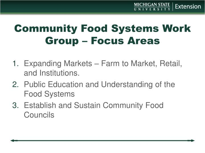 Community Food Systems Work Group – Focus Areas