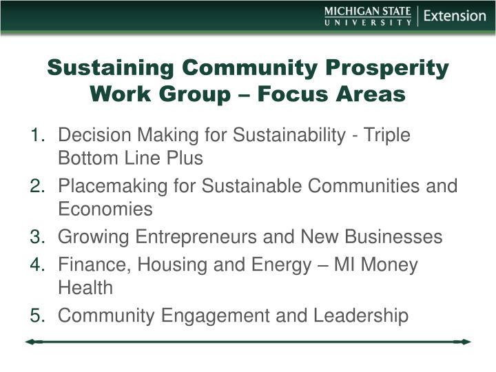 Sustaining Community Prosperity