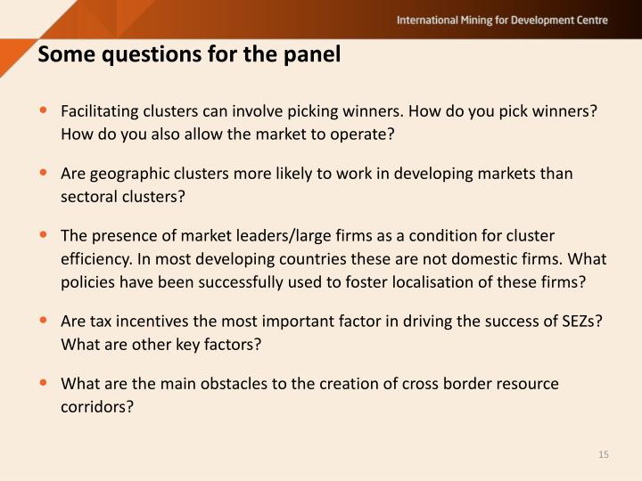 Some questions for the panel