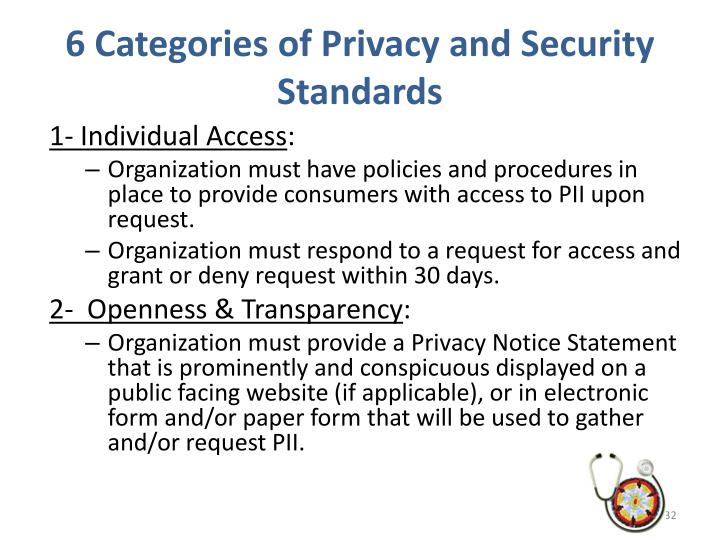 6 Categories of Privacy and Security Standards
