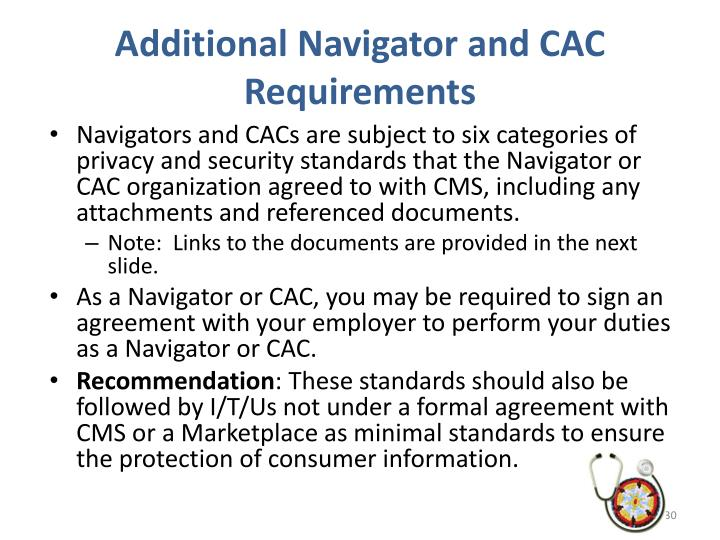 Additional Navigator and CAC Requirements