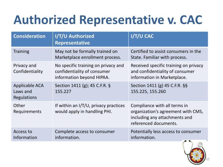 Authorized Representative v. CAC