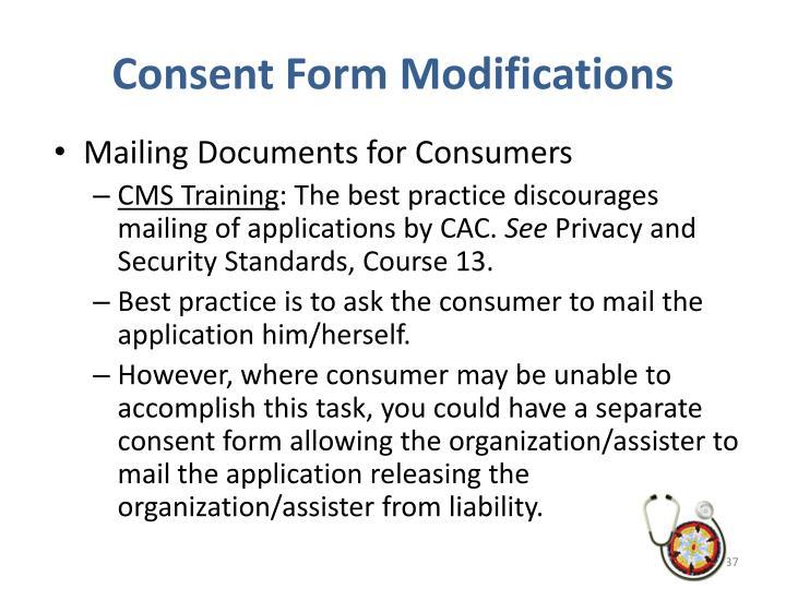 Consent Form Modifications