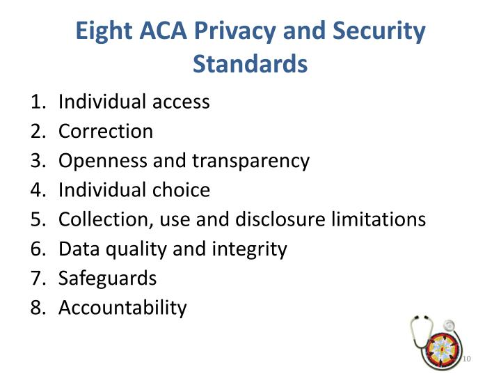 Eight ACA Privacy and Security Standards