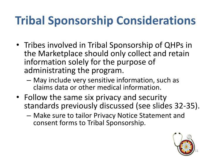 Tribal Sponsorship Considerations