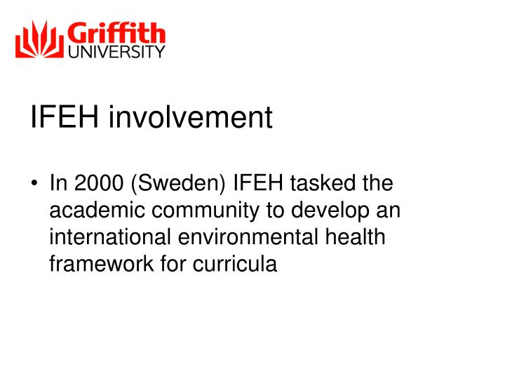 IFEH involvement