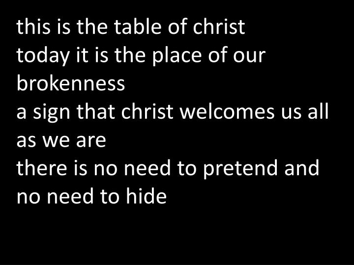this is the table of christ