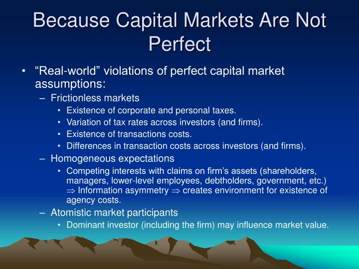 Because Capital Markets Are Not Perfect