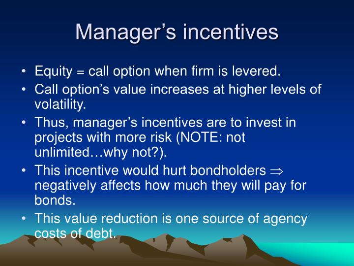 Manager's incentives