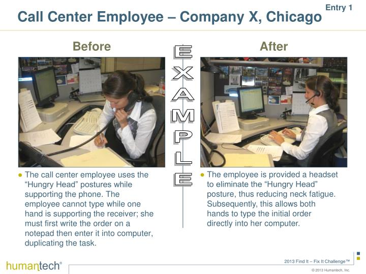 Call Center Employee – Company X, Chicago