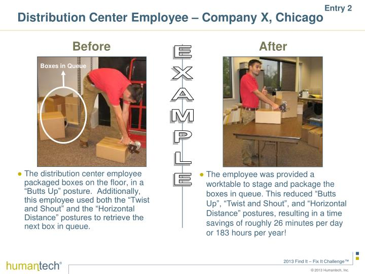 Distribution Center Employee – Company X, Chicago