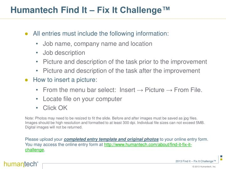 Humantech Find It – Fix It Challenge™