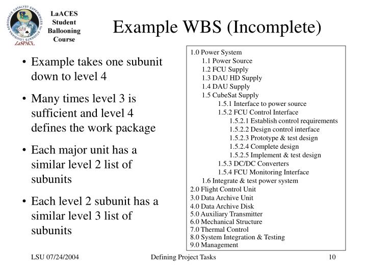 Example WBS (Incomplete)