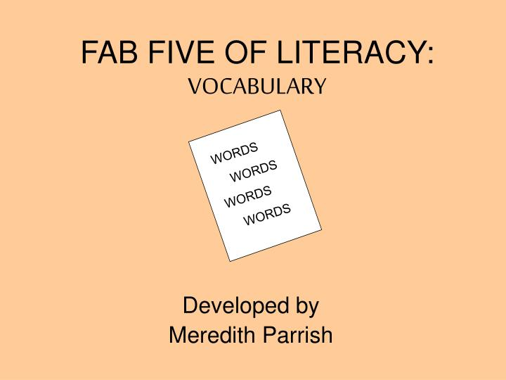 fab five of literacy vocabulary n.