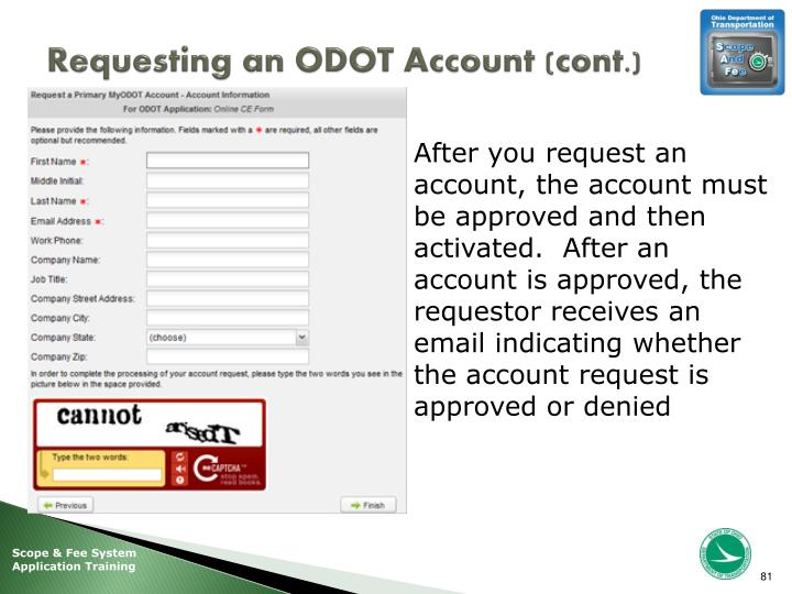 Requesting an ODOT Account (cont.)