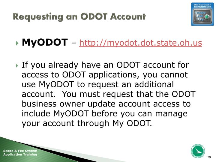 Requesting an ODOT Account