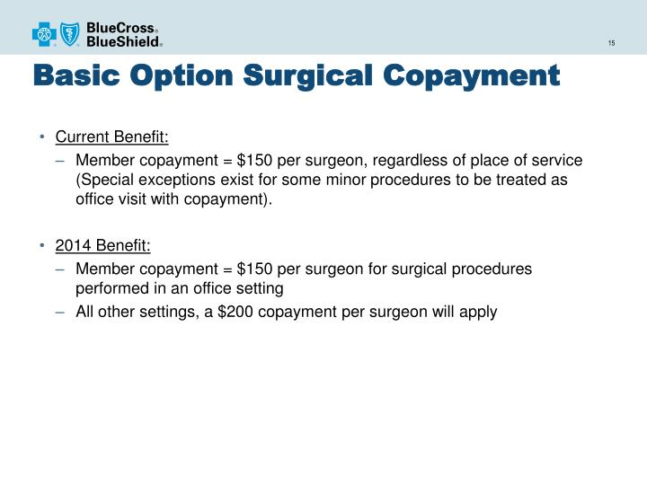 Basic Option Surgical Copayment