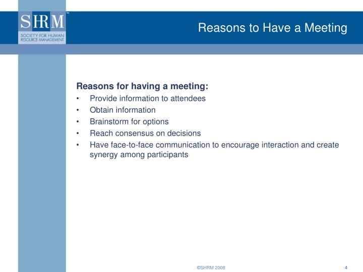 Reasons to Have a Meeting