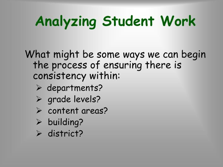 Analyzing Student Work