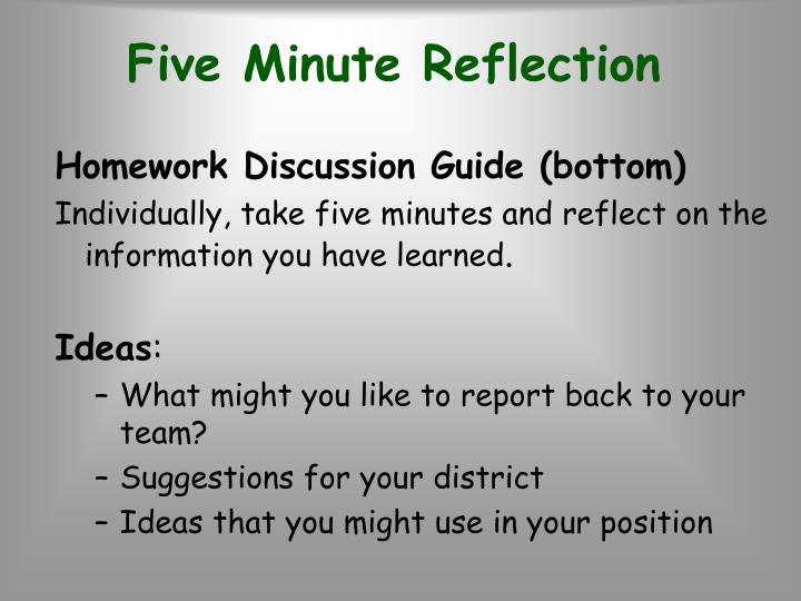 Five Minute Reflection