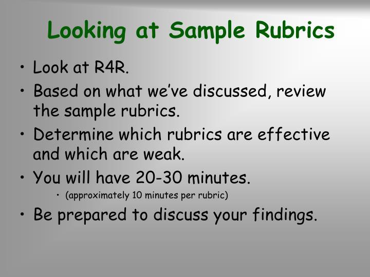 Looking at Sample Rubrics