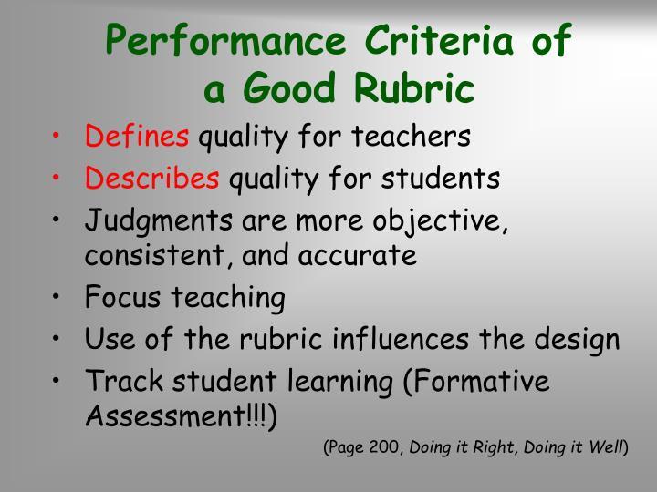 Performance Criteria of        a Good Rubric