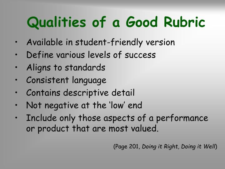 Qualities of a Good Rubric