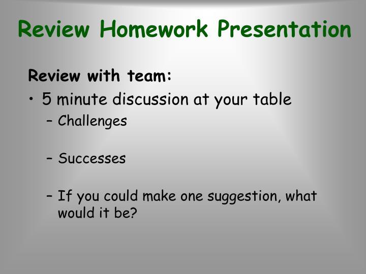 Review Homework Presentation
