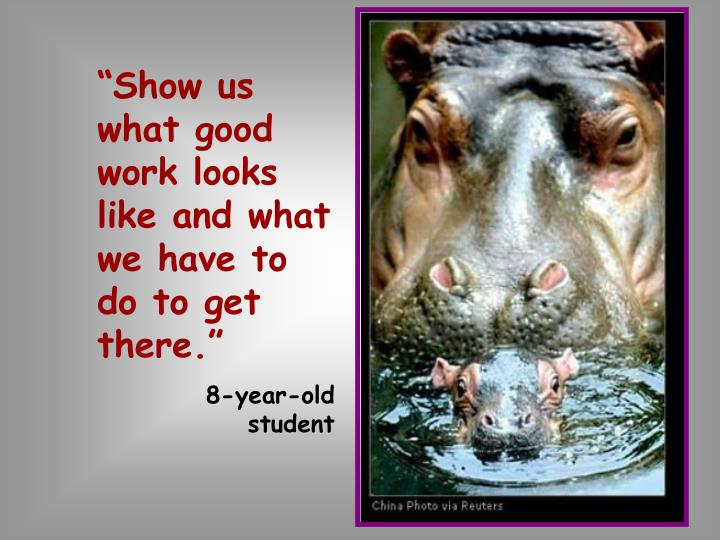 """""""Show us what good work looks like and what we have to do to get there."""""""