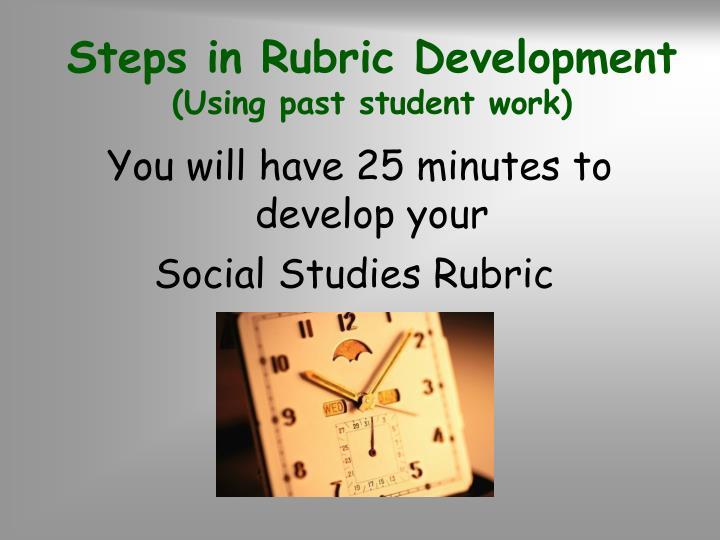 Steps in Rubric Development