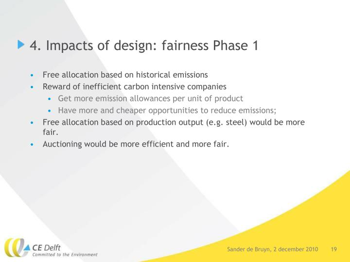 4. Impacts of design: fairness Phase 1