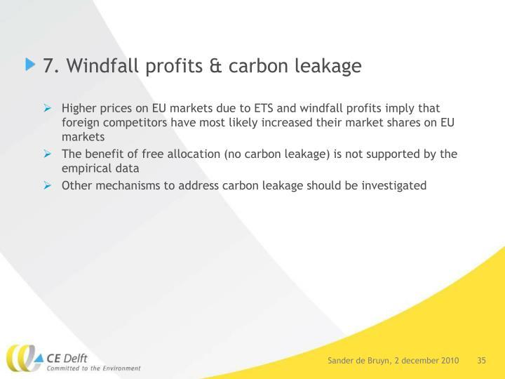 7. Windfall profits & carbon leakage