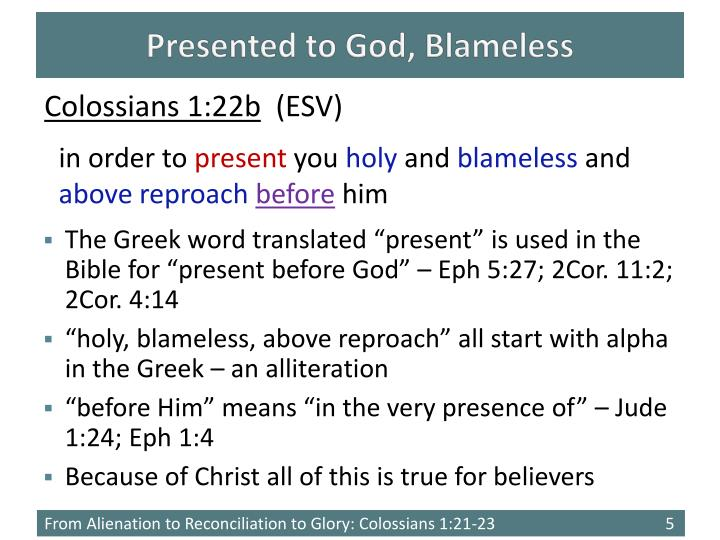 Presented to God, Blameless