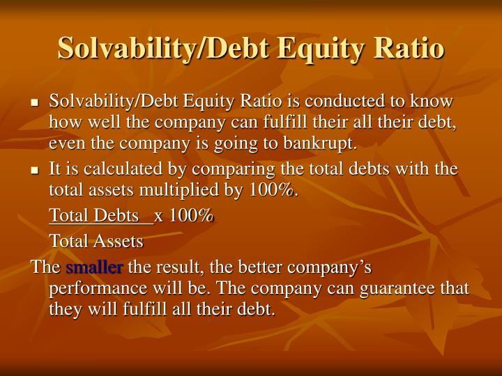 Solvability/Debt Equity Ratio
