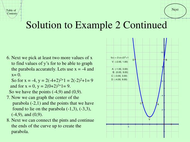 Solution to Example 2 Continued