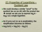 e properties of logarithms quotient law