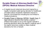 durable power of attorney health care dpoa medical advance directive