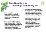 four directions for building a community life