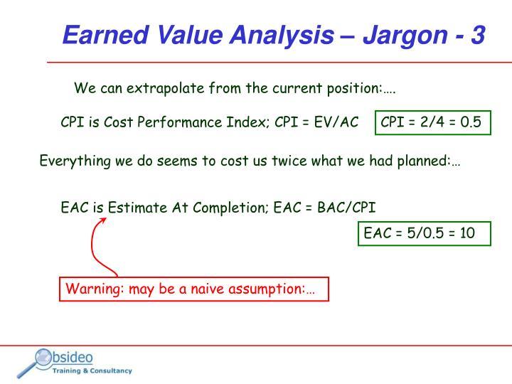 CPI is Cost Performance Index; CPI = EV/AC
