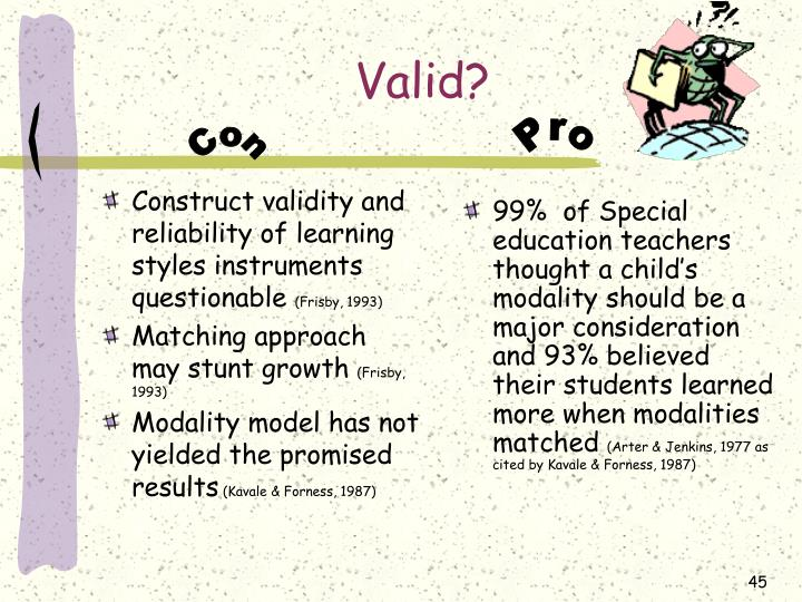 Construct validity and reliability of learning styles instruments questionable