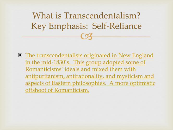 an essay on transcendentalism Transcendentalism is a philosophical movement that developed in the late 1820s and 1830s in the eastern united in poe's essay the philosophy of.