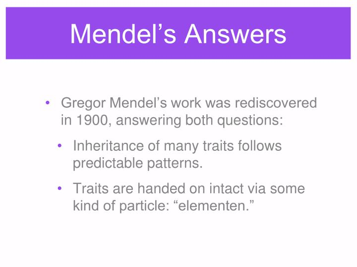 Mendel's Answers