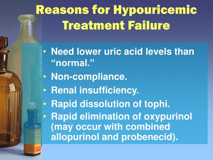 Reasons for Hypouricemic Treatment Failure
