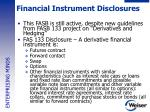 financial instrument disclosures